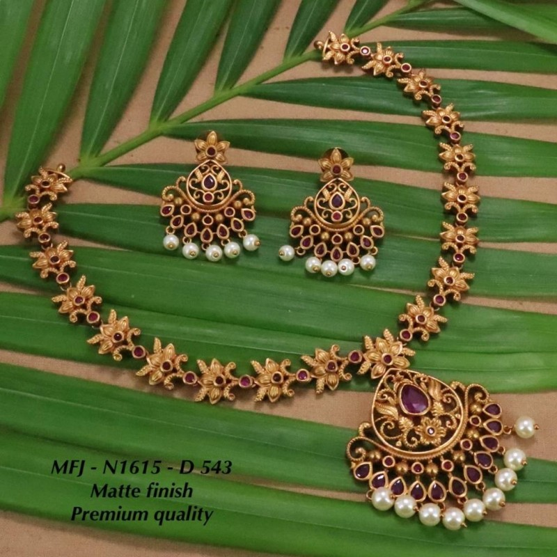 Kempu Ruby&Emerald Stones With Pearls Drops Flowers Design Pendant For Bharatanatyam Dance And Temple Buy Online