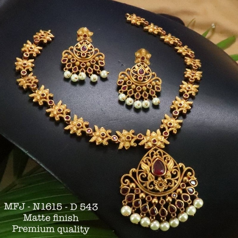 Kempu CZ&Blue Stones With Pearls Drops Peacock Design Pendant For Bharatanatyam Dance And Temple Buy Online