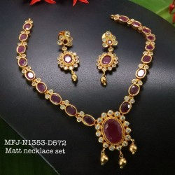 Ruby Colour Kempu Connector Stone With Pearls Drops Designed Golden Colour Polished Jewellery Making Bit(1pc Price) Online