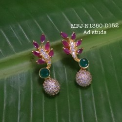 CZ,Ruby&Emerald Stoned Lakshmi&Flowers Design Matte Plated Finished Haram Set Buy Online