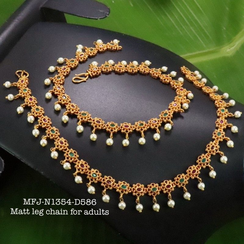 Ruby&Emerald Stones With Pearls Drops Golden Balls And Flower Design Matte Plated Finished Haram Set Buy Online