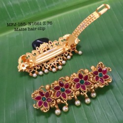 CZ,Ruby Stones With Pearls Drops Peacock Design Gold Plated Finish Necklace Buy Online