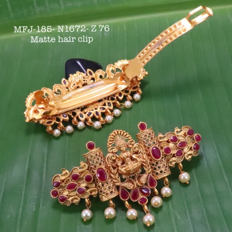 CZ,Ruby&Emerald Stones With Pearls Drops Peacock With Flower Design Gold Plated Finish Necklace Buy Online