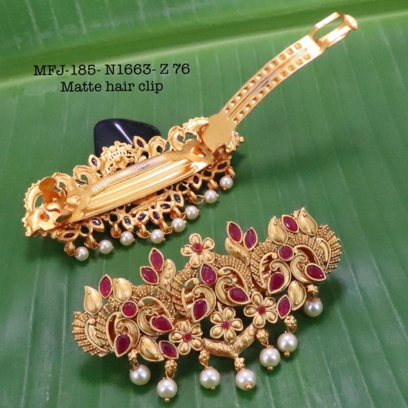 CZ,Ruby Stones With Pearls Drops Peacock With Flower Design Gold Plated Finish Necklace Buy Online