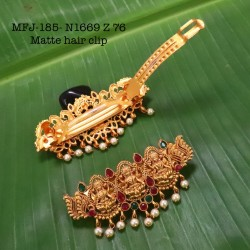 CZ,Ruby Stoned With Pearls Drops Peacock And Flower Design AD Stoned Golden Matte Plated Finished Neck Set Buy Online