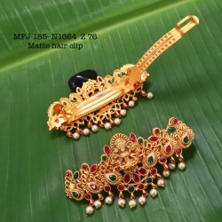 CZ,Ruby&Emerald Stoned With Pearls Drops Peacock And Flower Design AD Stoned Golden Matte Plated Finished Neck Set Buy Online