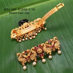 CZ,Ruby&Emerald Stoned With Pearls Drops Flower Design AD Stoned Golden Matte Plated Finished Neck Set Buy Online