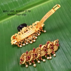 CZ,Ruby Stoned With Pearls Drops Flower Design AD Stoned Golden Matte Plated Finished Neck Set Buy Online