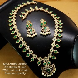 CZ,Ruby Stoned With Pearls Drops Lakshmi Design AD Stoned Golden Matte Plated Finished Neck Set Buy Online