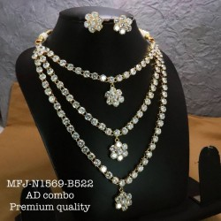CZ,Ruby&Emerald Stoned With Pearls Drops Lakshmi Design AD Stoned Golden Matte Plated Finished Neck Set Buy Online