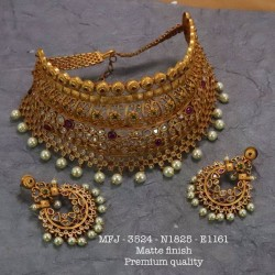 CZ,Ruby Stones With Pearls Drops Flower With Thilakam Design Gold Plated Combo Set Buy Online