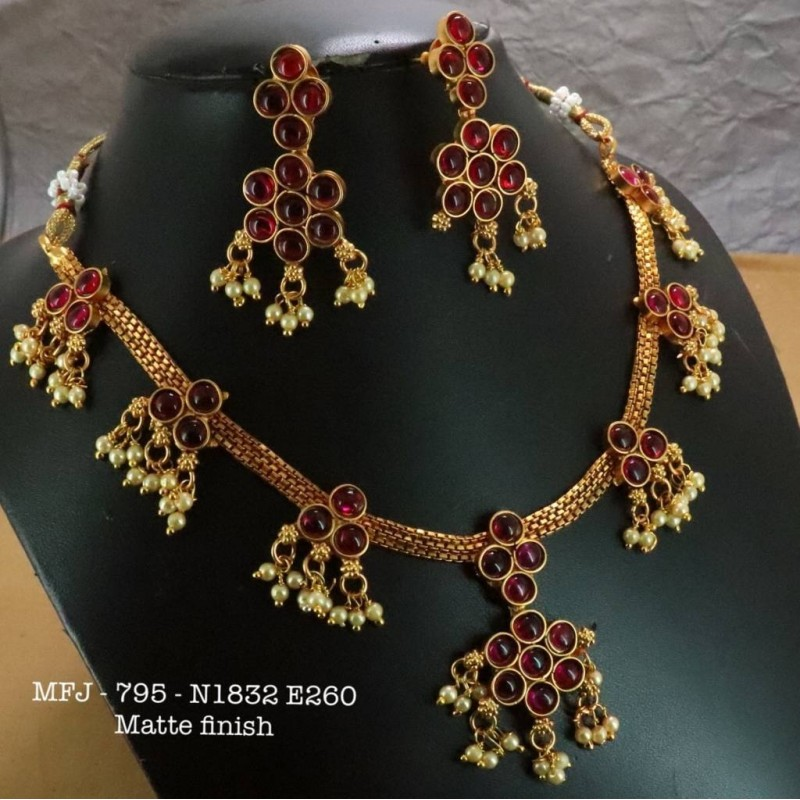 Ruby Stones With Pears Drops Mat Finish Peacock Design Kum Kum Box Buy Online