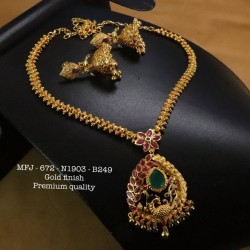 Ruby Stoned With Pearls Lakshmi&Peacock Design Matte Plated Finished Haram Set Buy Online
