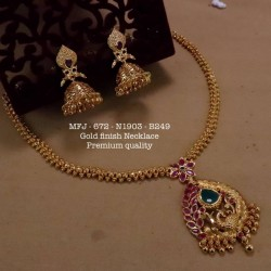 Ruby & Emerald Stoned  Lakshmi With Balls Design Matte Plated Finished Haram Set Buy Online