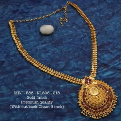 Ruby Stoned Lakshmi Kasu Combo Design Antique Plated Finished Haram Set Buy Online