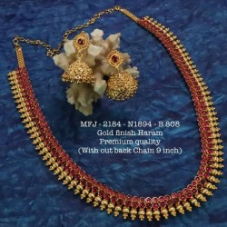 CZ,Ruby & Emerald Stones With Golden Balls Peacock With Mango Design Mat Finish Vamki Set Buy Online