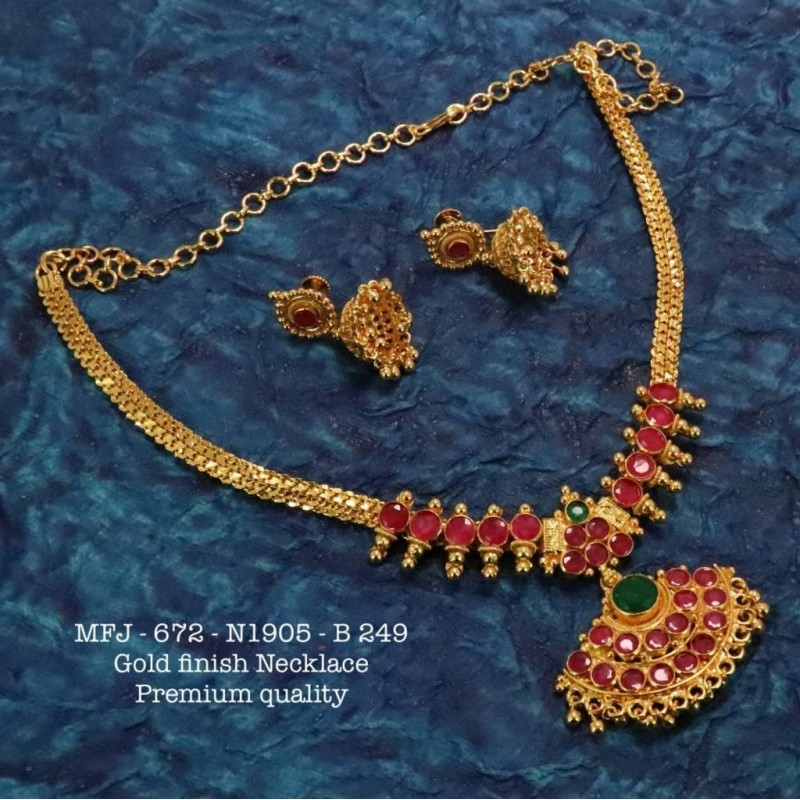 Blue Stones With Beats Pipe & Ragidi Flower Design Necklace For Bharatanatyam Dance And Temple Buy Online