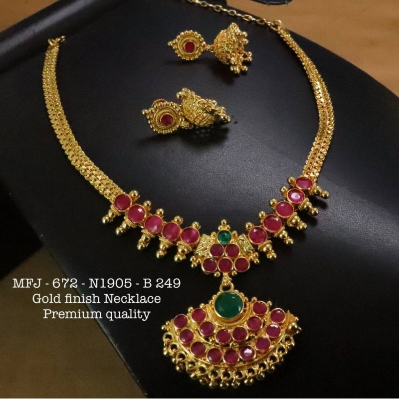 Red&Green Stones With Pipe Flower Design Necklace For Bharatanatyam Dance And Temple Buy Online