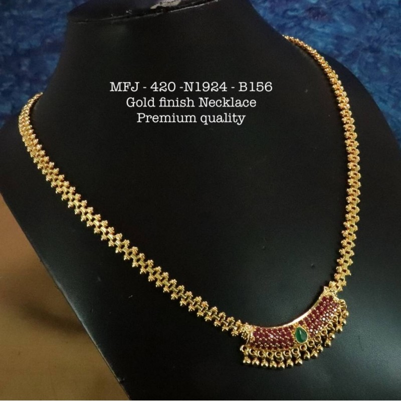 Red&Green Stones With Pipe Flwoer Design Necklace For Bharatanatyam Dance And Temple Buy Online