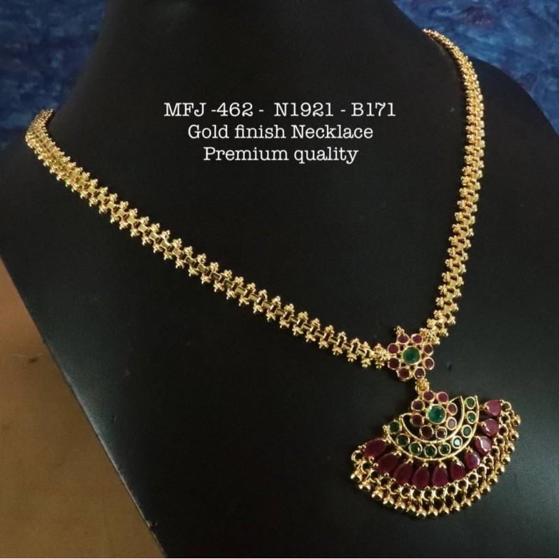 Red&Green Stones With Pipe Design Necklace For Bharatanatyam Dance And Temple Buy Online