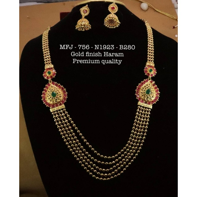Red&Green Stones With Pipe Mango Design Necklace For Bharatanatyam Dance And Temple Buy Online