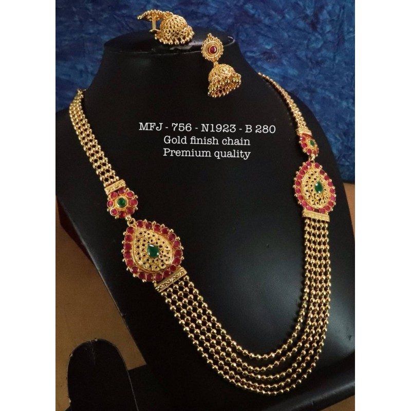 Green Stones With Pipe,Golden Balls & Kempu  Balls Design Necklace For Bharatanatyam Dance And Temple Buy Online