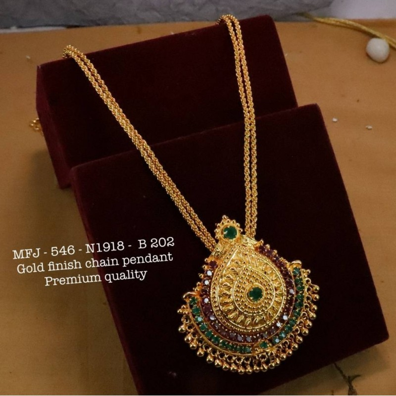 Red Stones With Pipe,Golden&Kempu Balls Design Necklace For Bharatanatyam Dance And Temple Buy Online