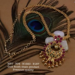 High Quality Kempu CZ,Ruby&Emerald Stones Temple 3 Lines Pearls Naga Design  Haram Dance Jewellery Online