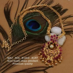 Ruby Stoned With Pearls Drops Lakshmi With Elephant Design Matte Plated Finished Neck Set Buy Online