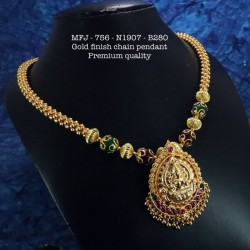 CZ,Ruby&Emerald Stoned Kasu with Lakshmi Design Matte Plated Finished Haram Set Buy Online