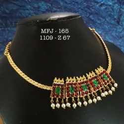 CZ,Ruby Stoned  With Pearls Peacock With Flower Design Matte Plated Finished Haram Set Buy Online