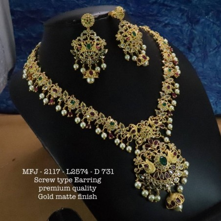 Emerald Stones With Perals Two Lined Flower Design Gold Plat Finished Necklace Buy Online