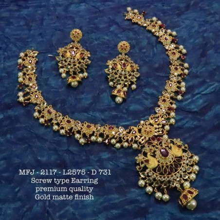 Blue Stones Flower With Leafs Design Gold Plat Finished Necklace Buy Online