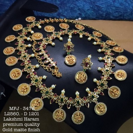 Ruby&Emerald Stoned With Golden Balls Peacock With Flower Design Matte Plated Finished Haram Set Buy Online