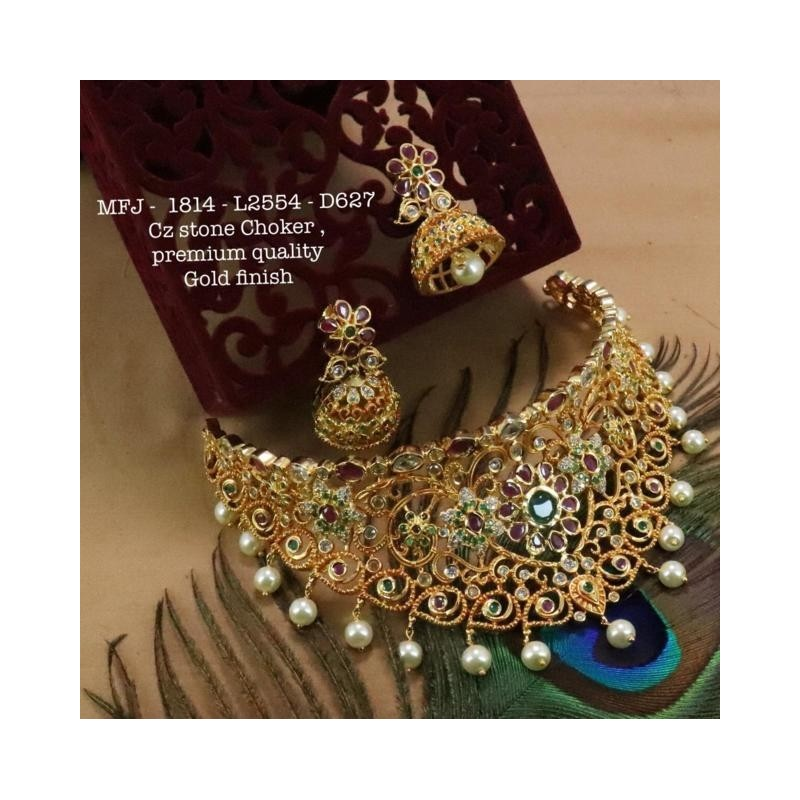 CZ, Ruby & Emerald Stones With Pearls Drops Flowers With Peacock Design Gold Plated Finish Hip Belt Buy Online