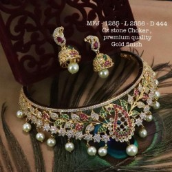CZ,Ruby&Emerald Tones With Golden Balls Fower With Mango Design Matte Plated Finished Full Bridal Set Buy Online