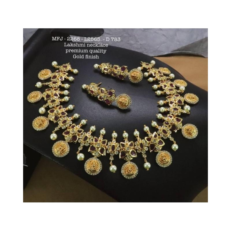 Ruby&Emerald Tones With Golden Balls Flower With Peacock Design Matte Plated Finished Full Bridal Set  Buy Online