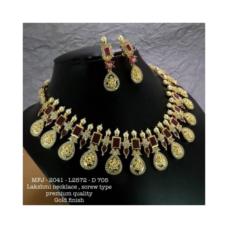 Ruby&Emerald Stones Three Lined Black Beats Peacock With Lakshmi Design Mat Finish Pendant Set With Designer Chain Buy Online