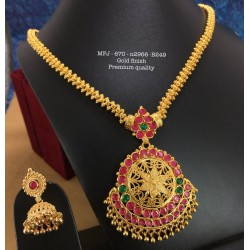 CZ,Ruby&Emerald Stones with Pearls Drops Double Peacock Design Mat Finish Pendant Set Buy Online