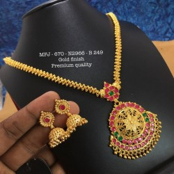 CZ,Ruby&Emerald Stones with Pearls Drops Flower Design Mat Finish Pendant Set Buy Online