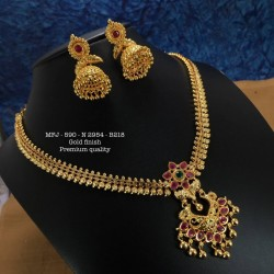 CZ,Ruby&Emerald Stones With Pearls Drops Three Lined Flower Design Gold Plated Finish Haram Set Buy Online