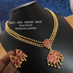 CZ,Ruby&Emerald Stones With Pearls Drops Elephant  With Mango Design Gold Plated Finish Haram Set Buy Online