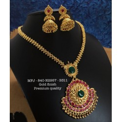 CZ,Ruby&Emerald Stones Peacock&Flower Design Gold Plat Finished Necklace Buy Online