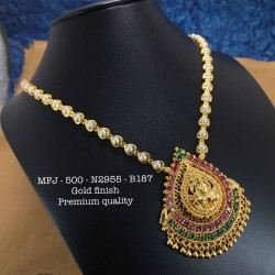 CZ,Ruby&Emerald Stones With Pearls Elephant&Flower Design Gold Plat Finished Necklace Buy Online