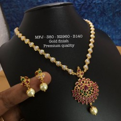 CZ,Ruby&Emerald Stones With Pearls Peacock&Flower Design Gold Plat Finished Necklace Buy Online