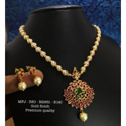 CZ,Ruby Stones With Pearls Two Plated Mango Design Gold Plat Finished Necklace Buy Online