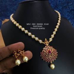 CZ,Ruby&Emerald Stones With Pearls Two Plated Mango Design Gold Plat Finished Necklace Buy Online