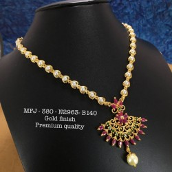 CZ,Ruby&Emerald Stones With Pearls Leafs Design Gold Plat Finished Choker Necklace Buy Online