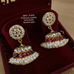 CZ,Ruby&Emerald Stones with Golden Balls Peacock Design Mat Finish Pendant Set Buy Online