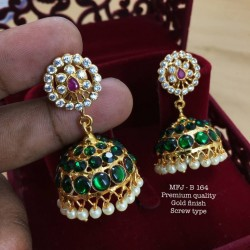 CZ,Ruby&Emerald Stones With Pearls Mango Design Mat Finish Jumki Buy Online